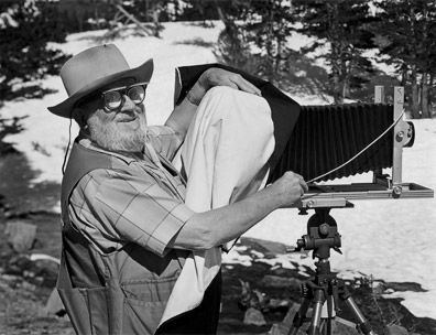 Ansel Adams photographing at Tioga Lake